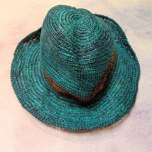 Anthropologie Christys Crown Teal Fedora